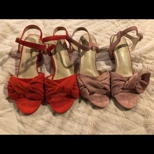 TWO PAIRS of suede kitten heels in a Size 8.5